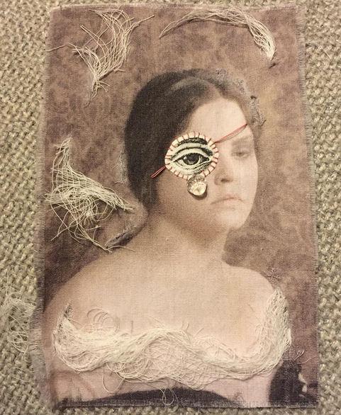 mixed media fabric photo print, big eye, portrait, glass tear drop